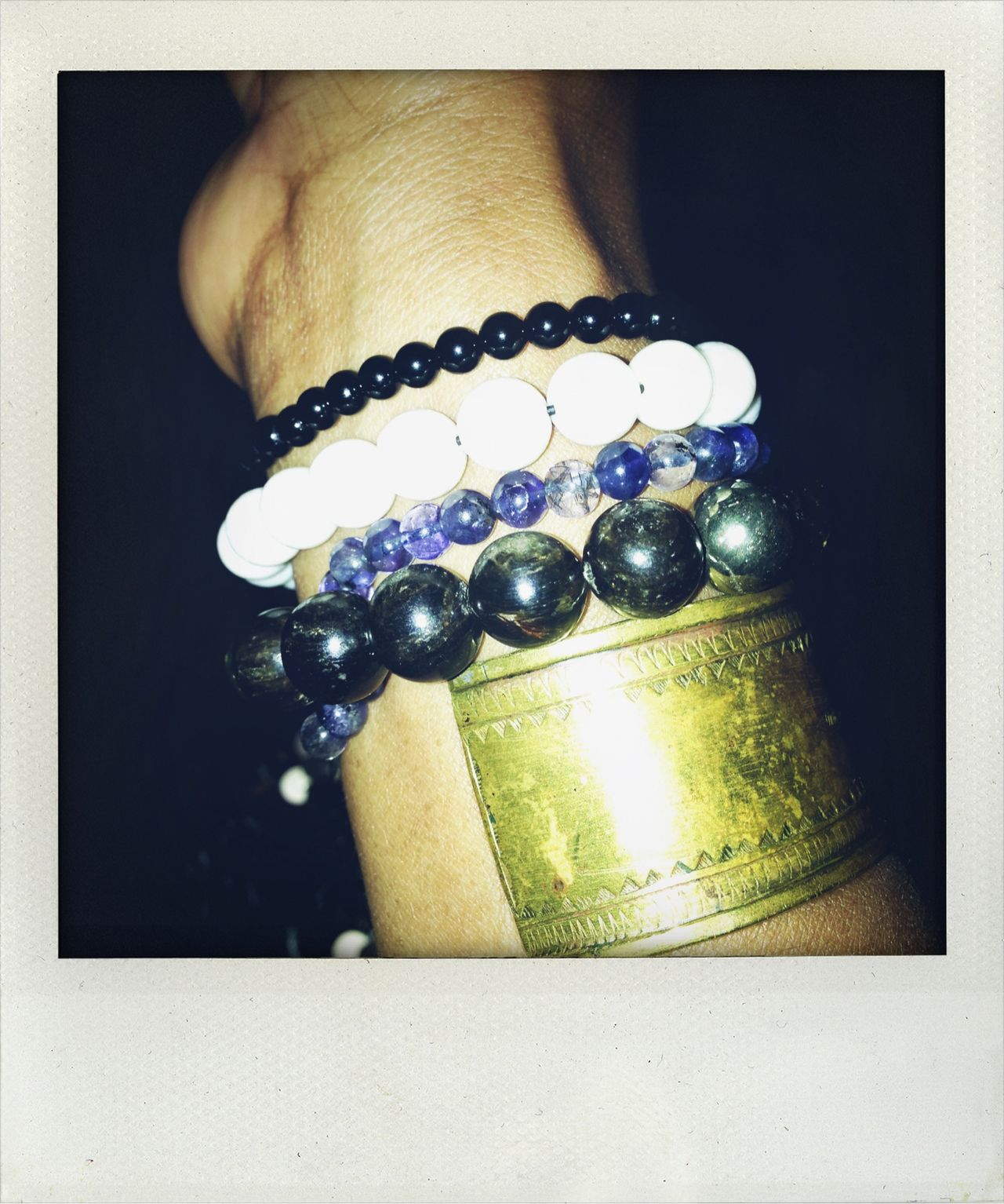 There was great New Year's Eve candy last night. White coral, golden mica, iolite & onyx.