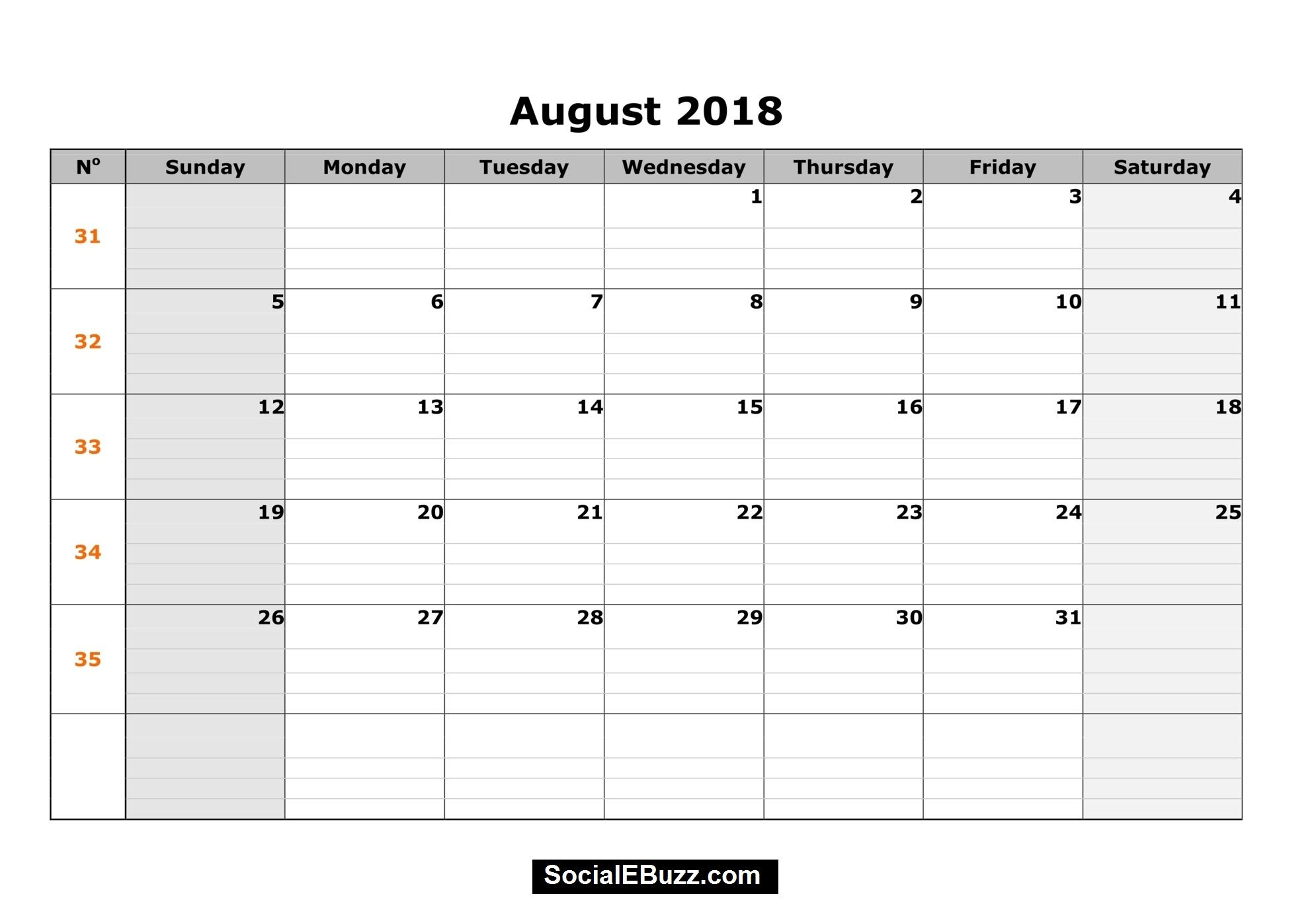august printable calendar 2018