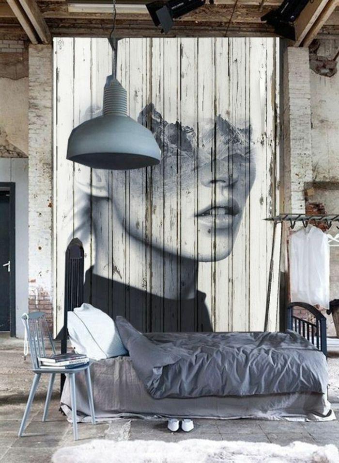 lustre gris industriel dans une chambre a coucher esprit loft