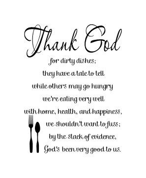Thank God for dirty dishes wall vinyl decal