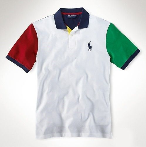 Men's Ralph Lauren Classic-Fit Big Pony Polo White/Red/Green $34.71