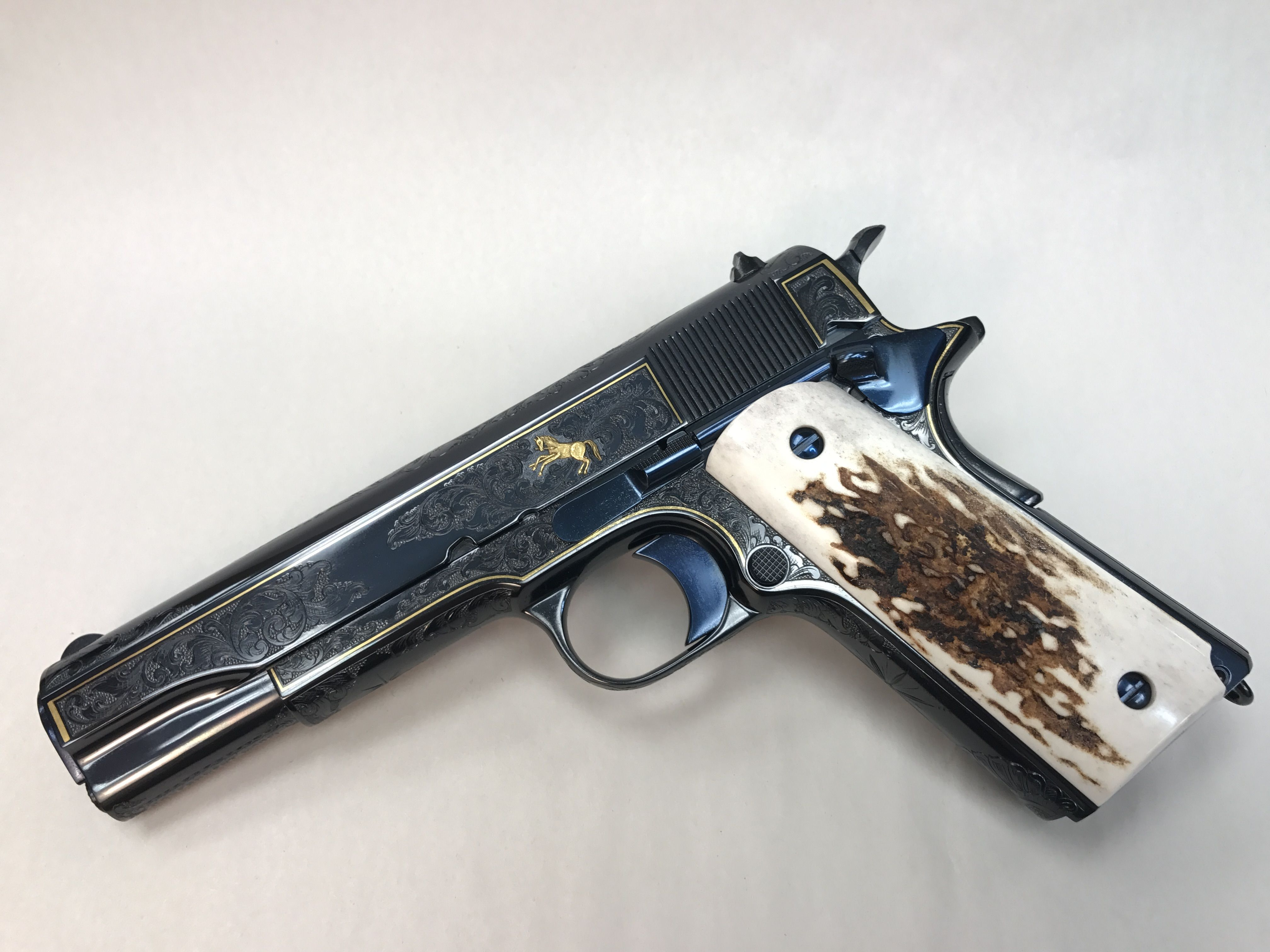 Colt 1911, custom engraved, gold inlay, stag grips, nitre blue small ...