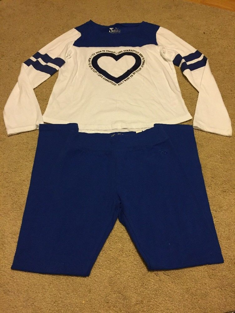 Back To School Size 12 Justice Outfit White And Blue I Love