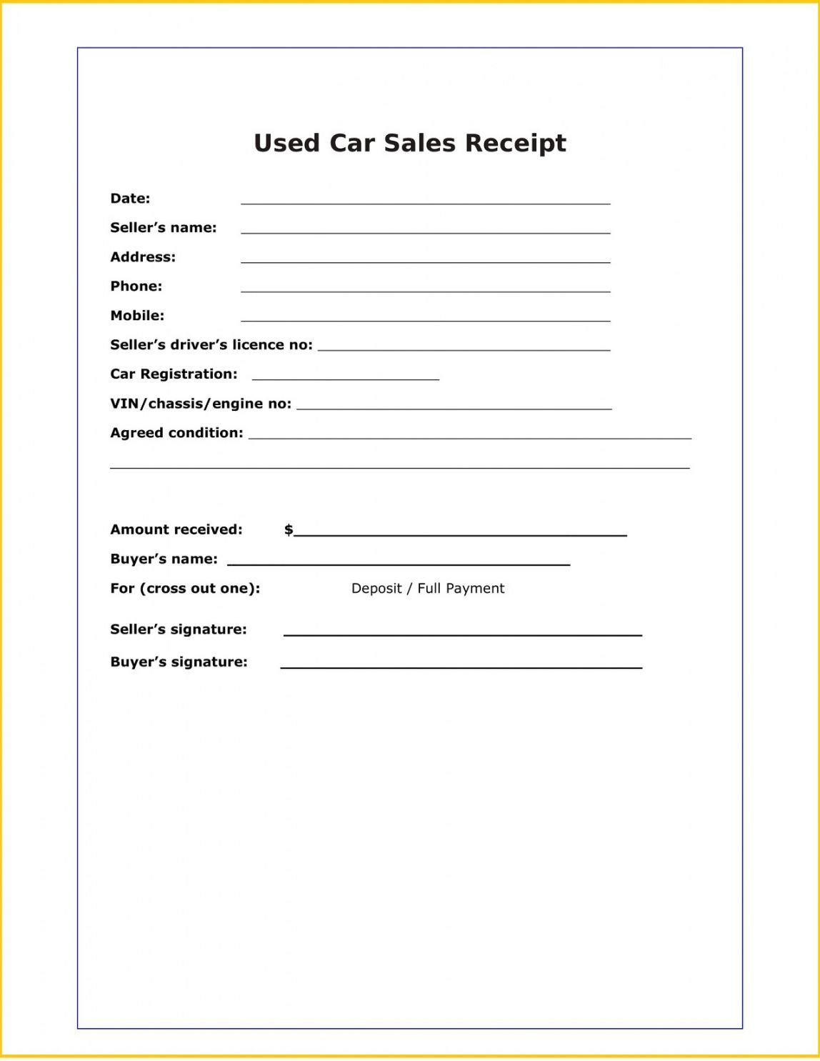 Browse Our Printable Used Car Sales Receipt Template Receipt Template Cars For Sale Receipt