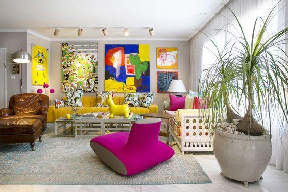Casinha colorida Salas de estar muitas inspirações vintages - salas vintage