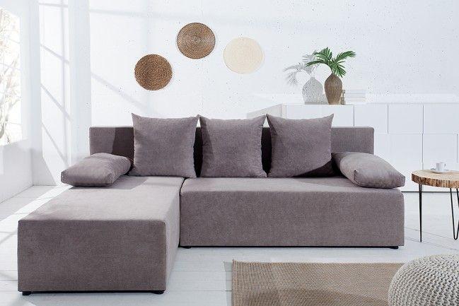 Design Ecksofa CUBUS Soft Baumwolle greige mit Schlaffunktion und - wohnzimmer creme grun