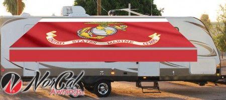 proud us marines flag custom rv awning custom awnings