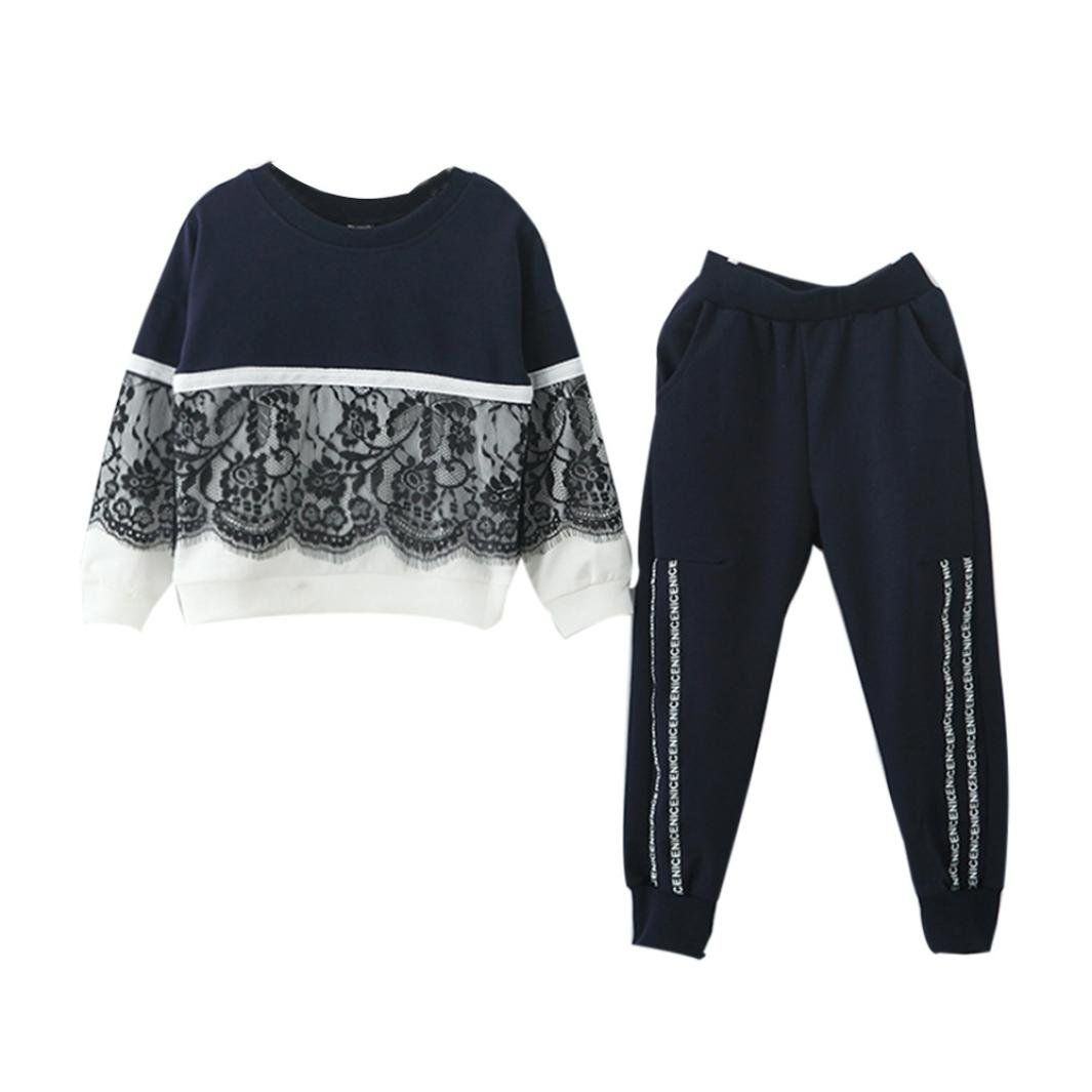 88696c690652 Clearance Sale Toddler Girl Kids Outfits Tracksuit Floral Lace  Sweatshirt+Pants Clothes Set (4T
