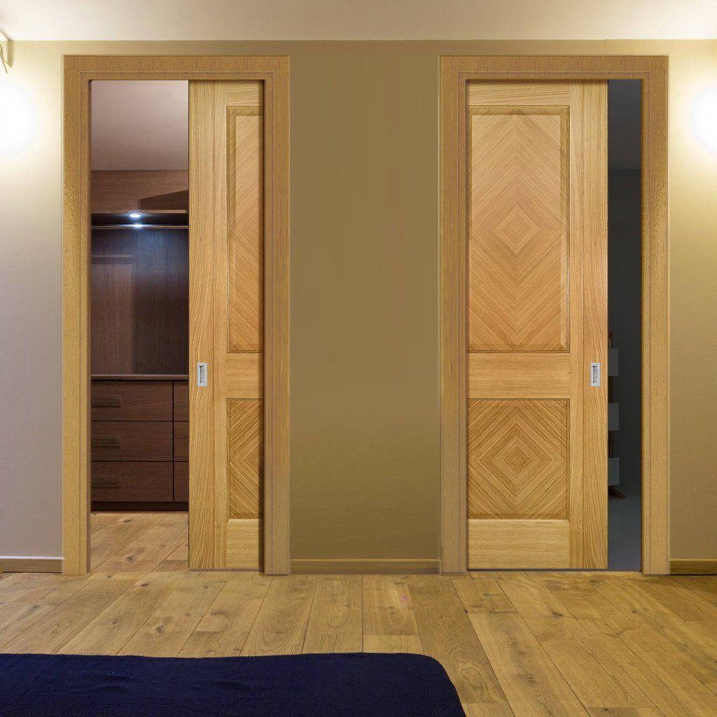Deanta Unilateral Pocket Kensington Oak Panel Door