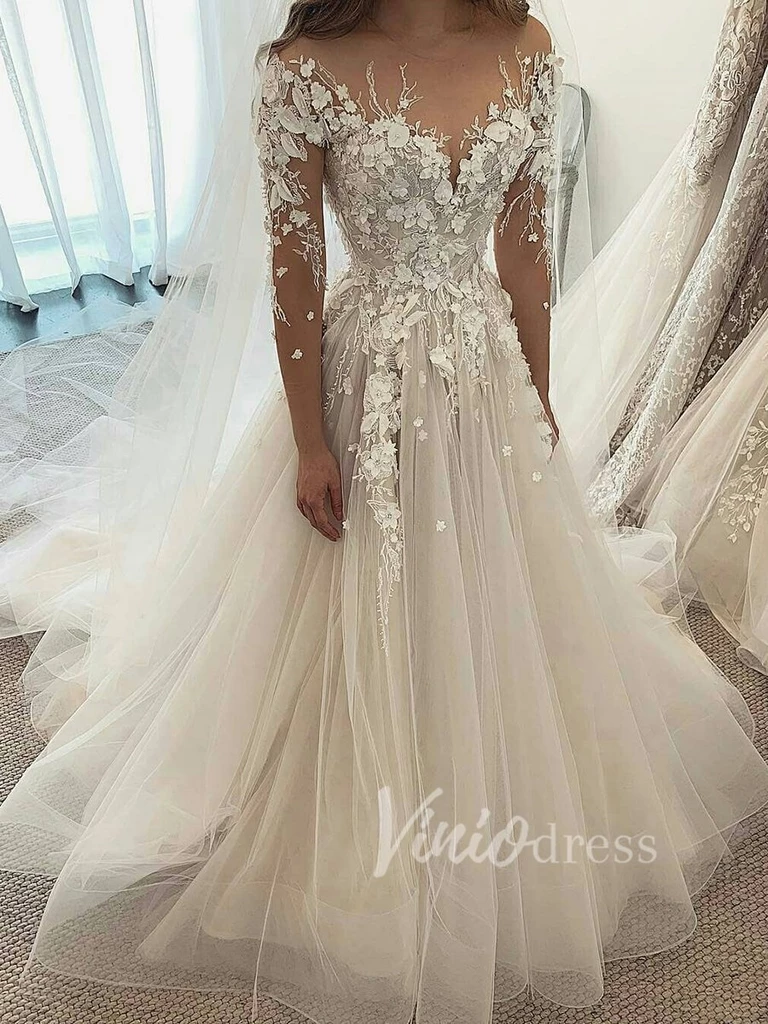 Long Sleeve Champagne Wedding Dresses With 3d Lace Appliques Vw1215 In 2021 Wedding Dress Champagne Blue Wedding Guest Dresses Ball Gowns Wedding [ 1024 x 768 Pixel ]