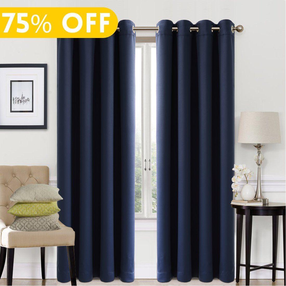 Blackout Window Curtain Panel Grommet Top Drapes 2 Set Room Darkening