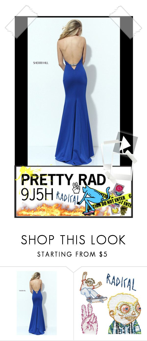 Sexy sherri hill royal open back long halter prom dress