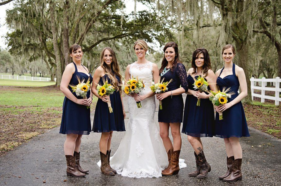 Country Sunflower Wedding Bridesmaid Blue Bridesmaid Dresses