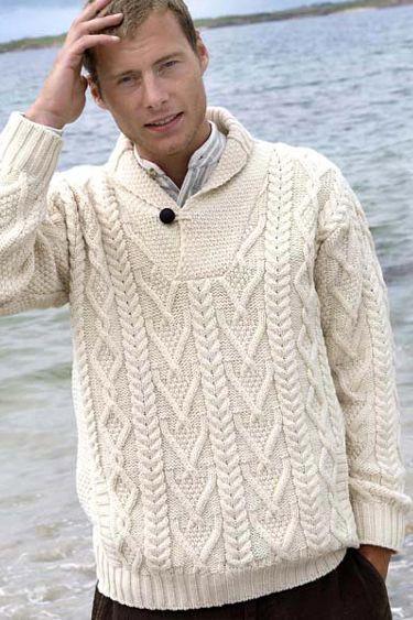 Aran Crafts Mens Aran Sweater Shawl Collar Pullover | Women's ...
