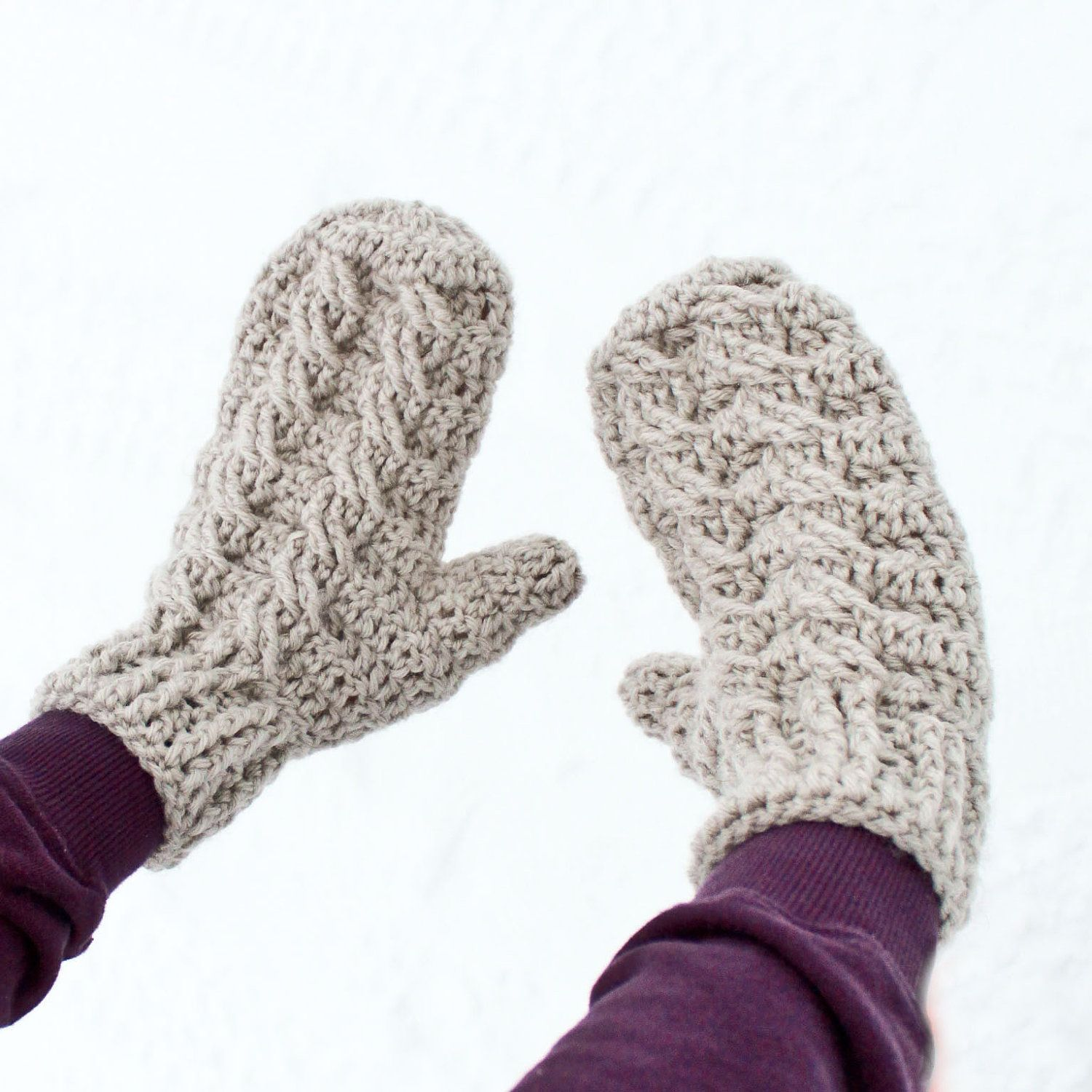 Instant Download - Crochet Pattern - Cable Mittens and Cowl (Adult ...