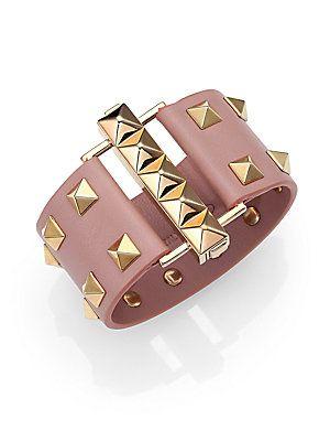 85fa87da9f66 Valentino Rockstud Wide Leather Cuff Bracelet