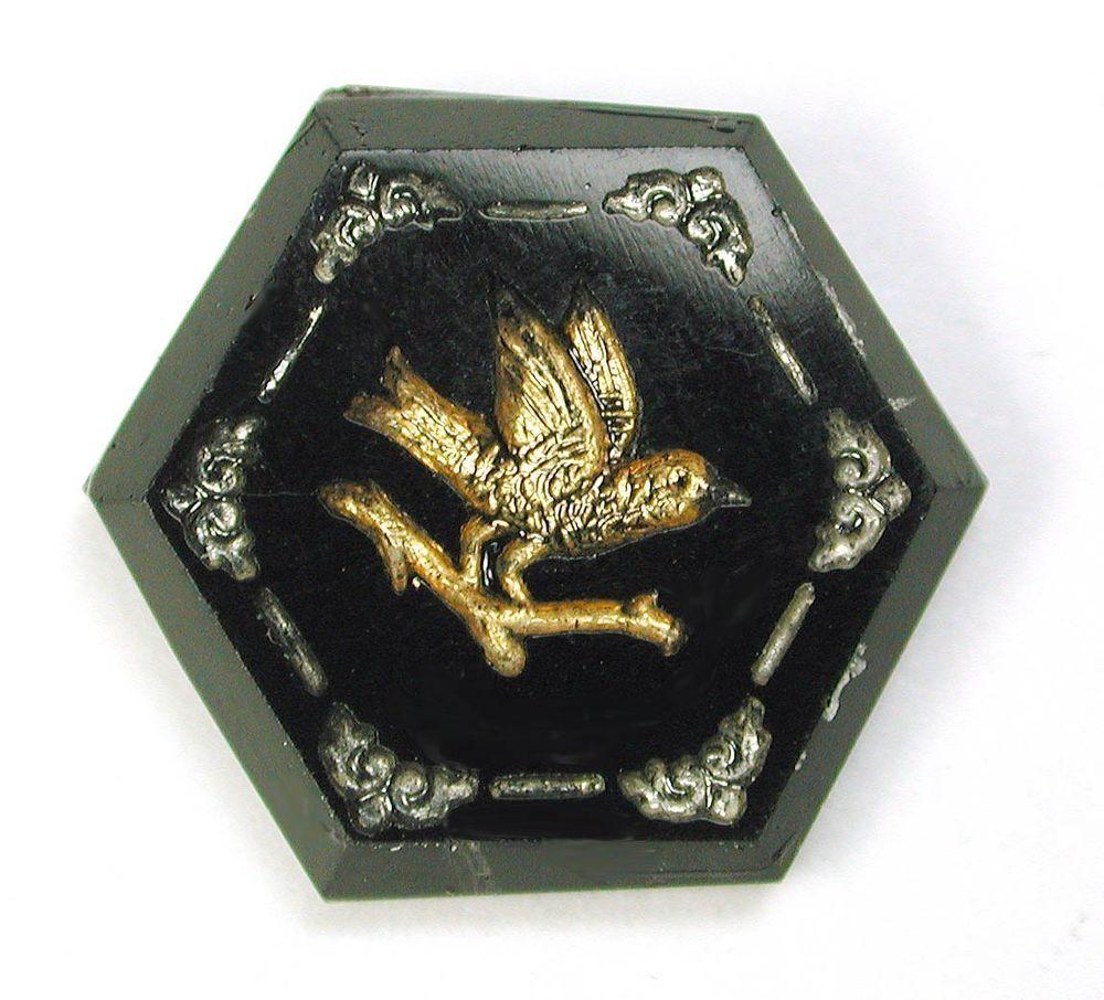 "Antique Hexagon Black Glass Button Bird on Branch w/ Gold & Silver Luster 11/16"""