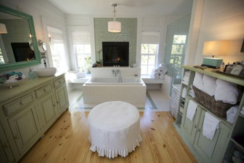 WOW love this bathroom, fireplace, colors, storage - jeanette-van