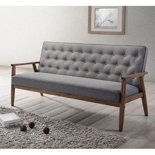 Grey Fabric Fully Upholster New Wooden 3 Seater Sofa W Solid Rubber Wood Legs Baxtonstudio Seater Sofa Retro Sofa