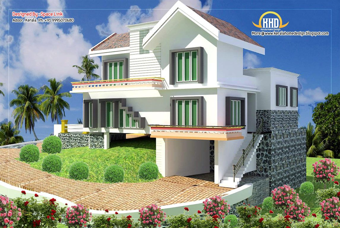 ^ double storey home designs sq sq ft february kerala style single ...