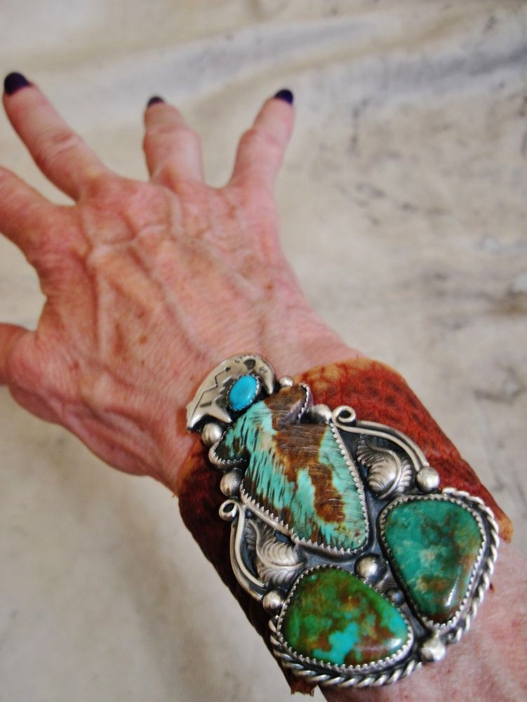 Native American Turquoise Leather Bracelet 74g Sterling Silver G Chavez 3 Wide Navajo Distressed Latigo Bow Guard Cuff Pendant Signed