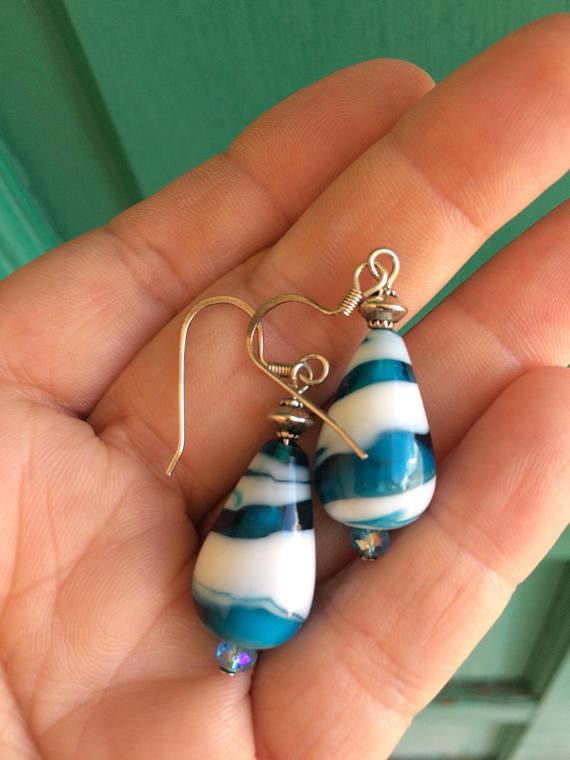 Boho Earrings, Dangle Earrings, Summer Jewelry, Turquise Blue Earrings