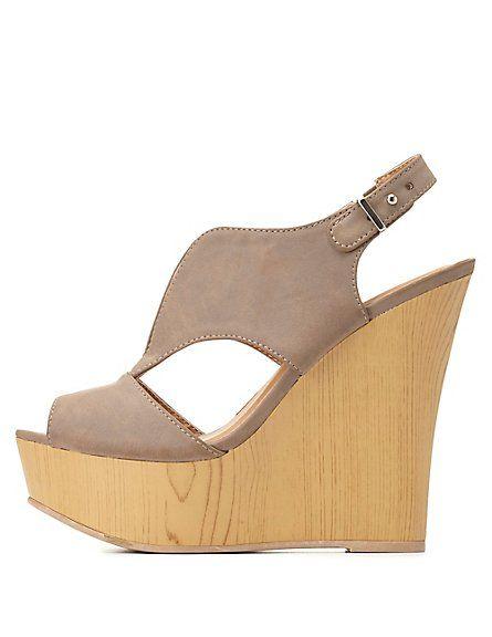 Qupid Slingback Wedge Sandal #charlotterusse #charlottelook