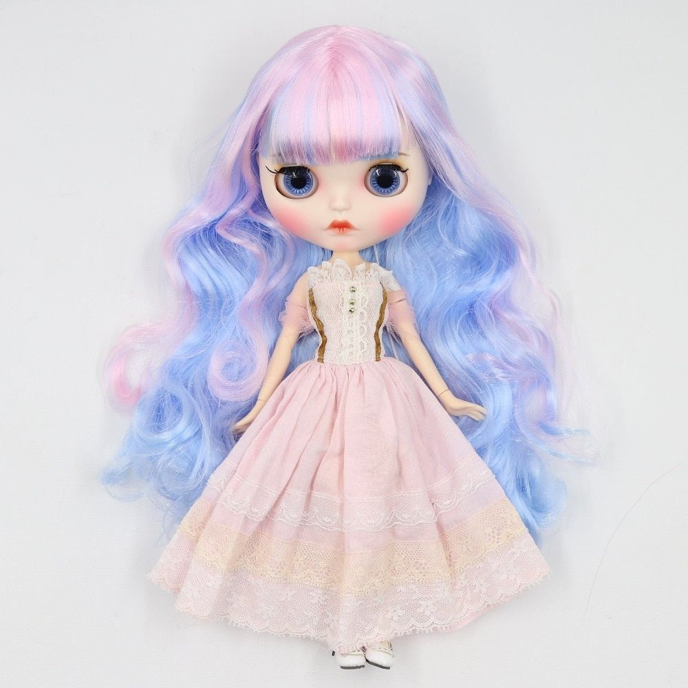 Blythe Nude Doll Matte Face With Sleeping Eyes from Factory Black Long Hair