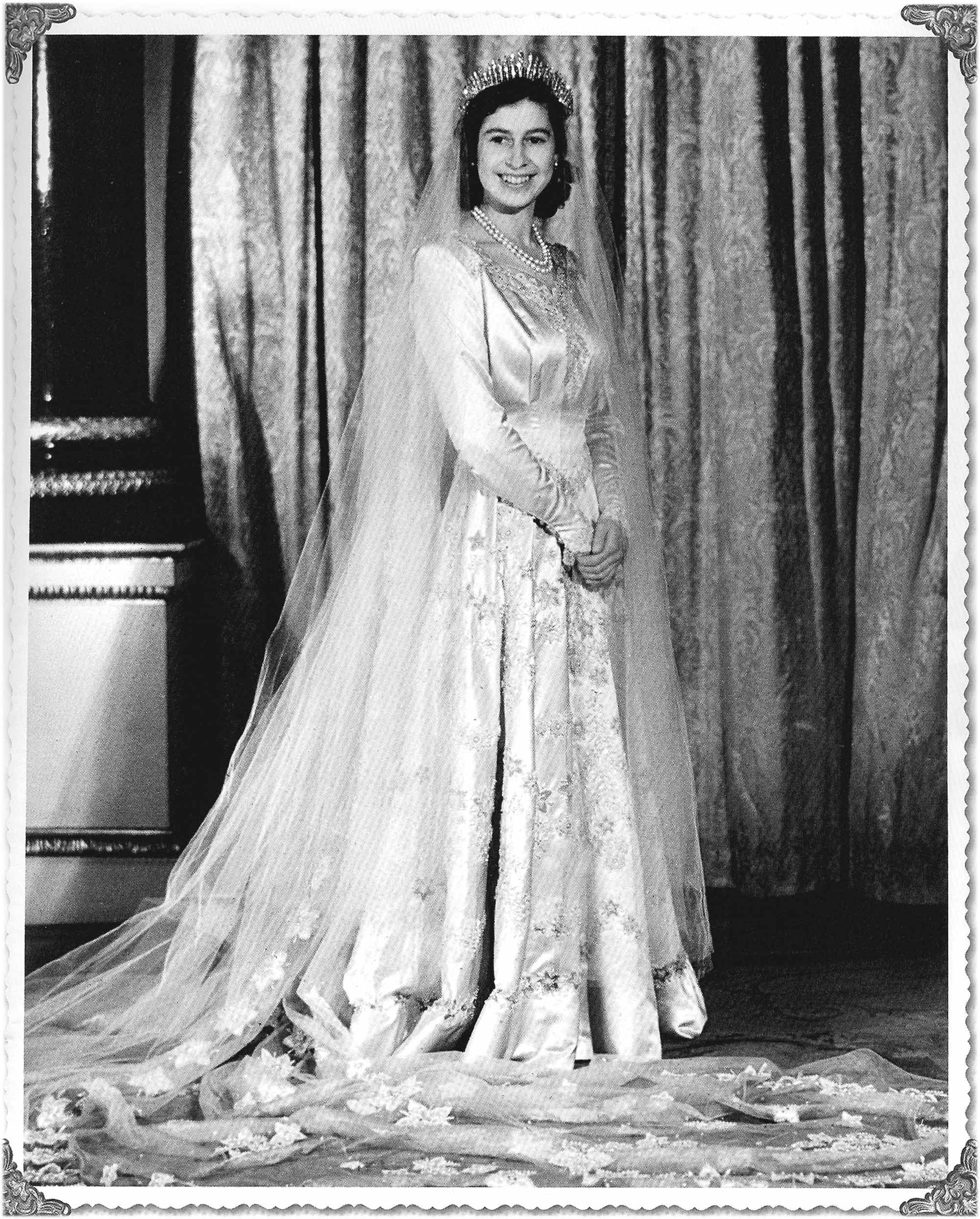 Queen Elizabeth on her wedding day Nov. 20, 1947. Gown by