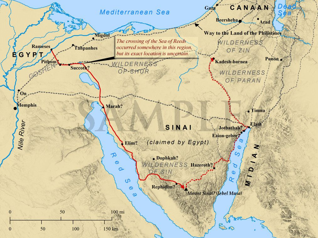 Map Of Exodus And Conquest Of Canaan The Exodus From Egypt And - Map of egypt canaan