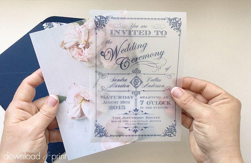 Translucent Wedding Invitation Diy With Download Amp Print