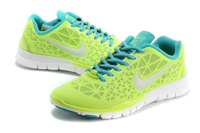 new product d90d3 4d2c2 Nike Free TR Fit 3 Breathe Womens Neon Green Calypso Blue White 579968 700