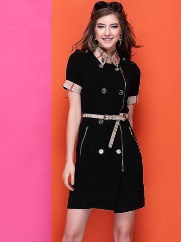 Western OL Elegant High Quality Patchwork Plaid Dress Black