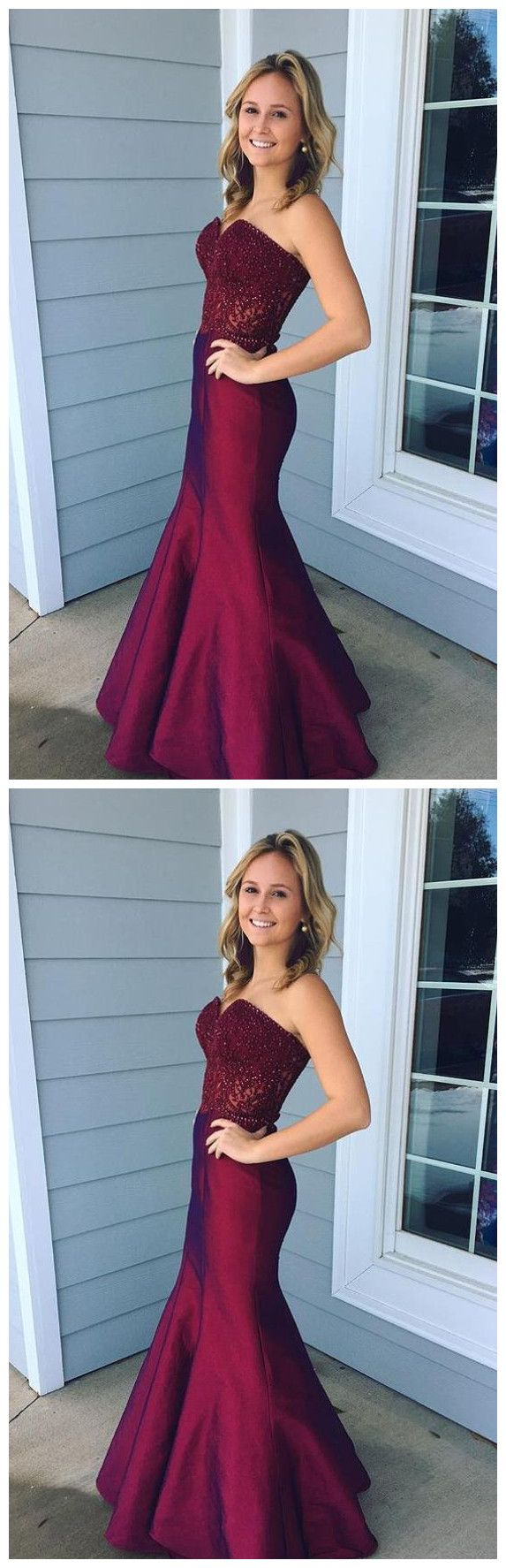 Strapless sweethear lace burgundy prom dresses mermaid evening