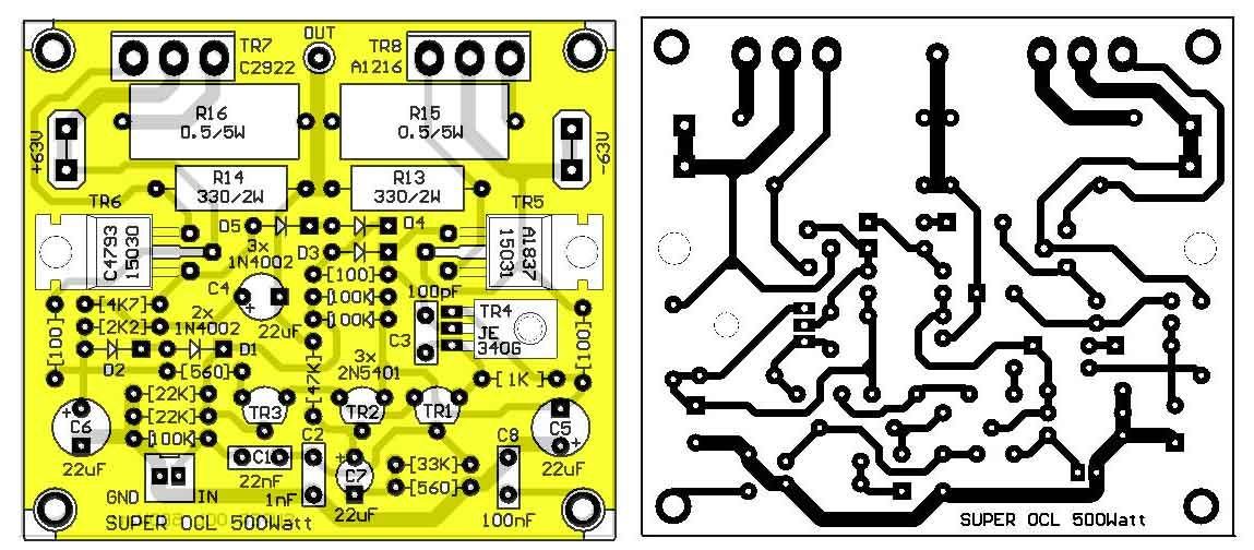 500w Power Amplifier Circuit Diagram With Pcb Layout - Pcb ...