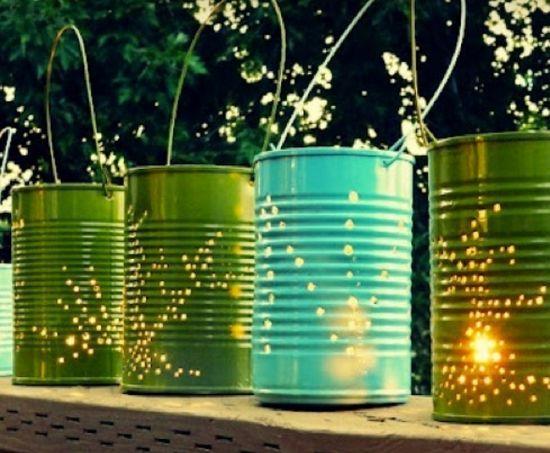 Latas recicladas lanternas