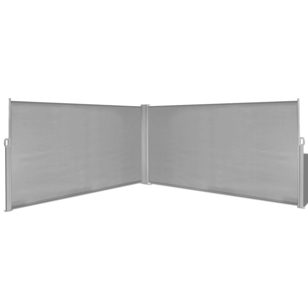 "Retractable Side Awning 71""x236"" Gray Wood pergola"