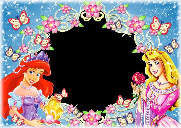 Princess Blue Kids Transparent Frame Happy Birthday Princess Images Princess Frame Disney Princess Printables
