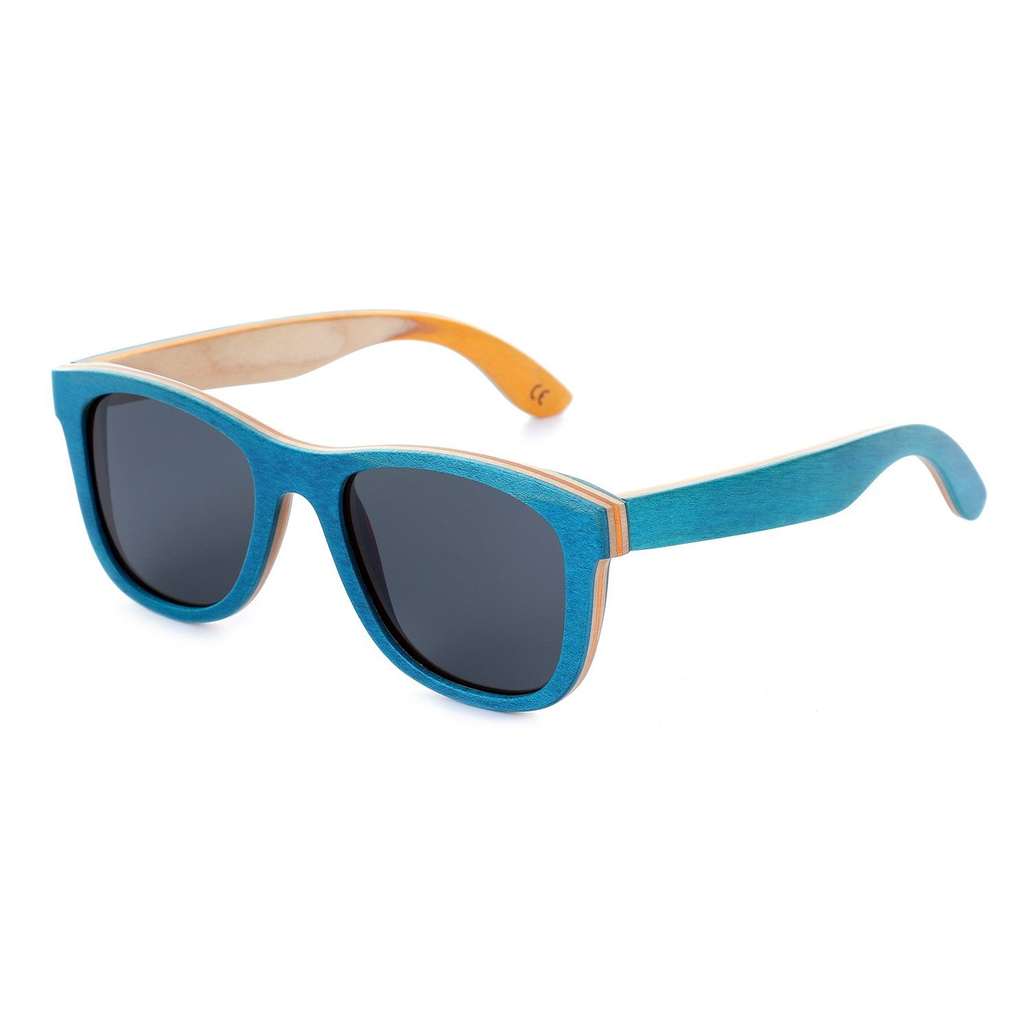 32e65d9bda5d Mini Tree Women Skateboard Wood Sunglasses Polarized Wayfarer Men Sun Shades  with Bamboo Case Blue Gray -- Learn more by checking out the picture link.