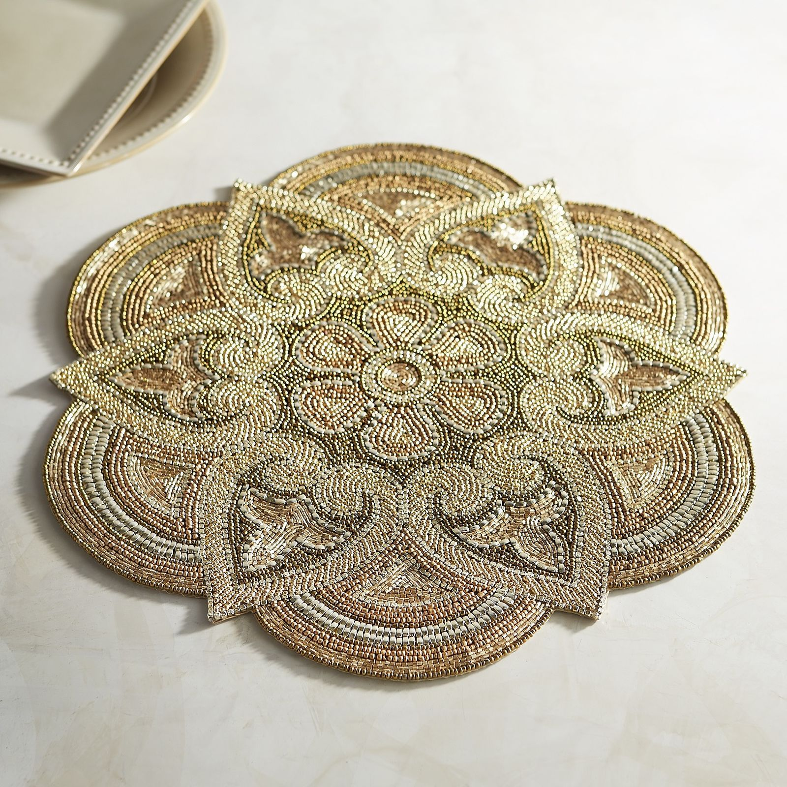Metallic Luxe Beaded Placemat Placemats Gold Placemats Diy Placemats