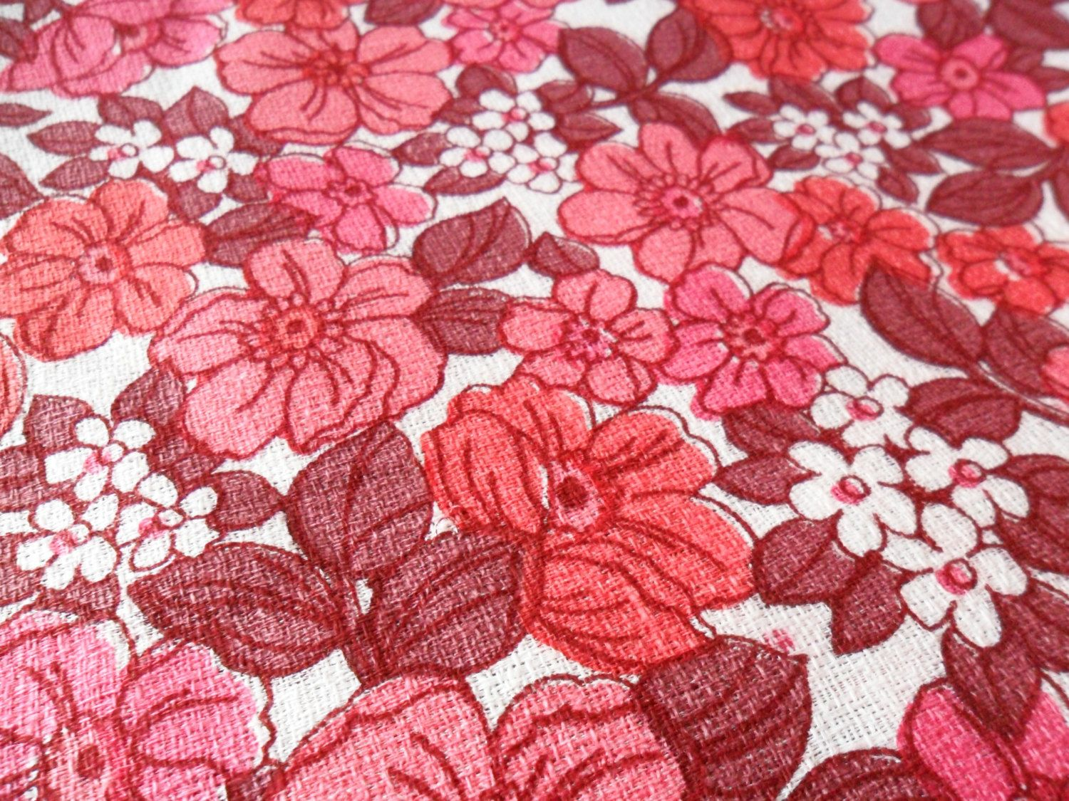 Vintage Barkcloth Fabric In Pink Red Retro Floral