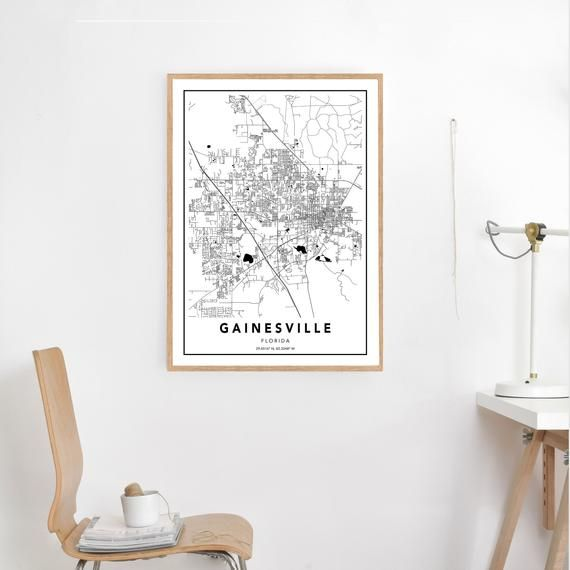 Gainesville FL Map Print, Custom Map Print, Gainesville