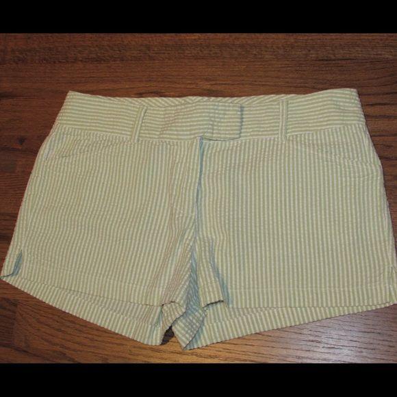 Seersucker shorts Lime green and white stripe seersucker summer shorts Other