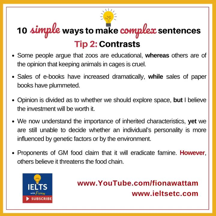 Grammar For Ielts How To Write Complex Sentences Ielts With Fiona Video Video Writing Complex Sentences Complex Sentences Ielts Writing