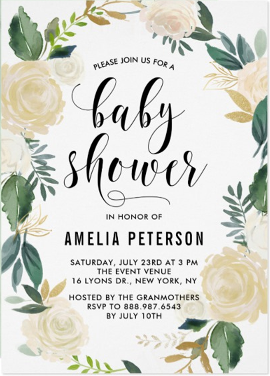 Watercolor Flowers With Gold Lettering Baby Shower