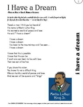 Heres A Handy Free Lyric Sheet For The I Have A Dream Song Used In Cl Rooms Across The Usa To Cele Te The Life And Legacy Of Martin Luther King Jr