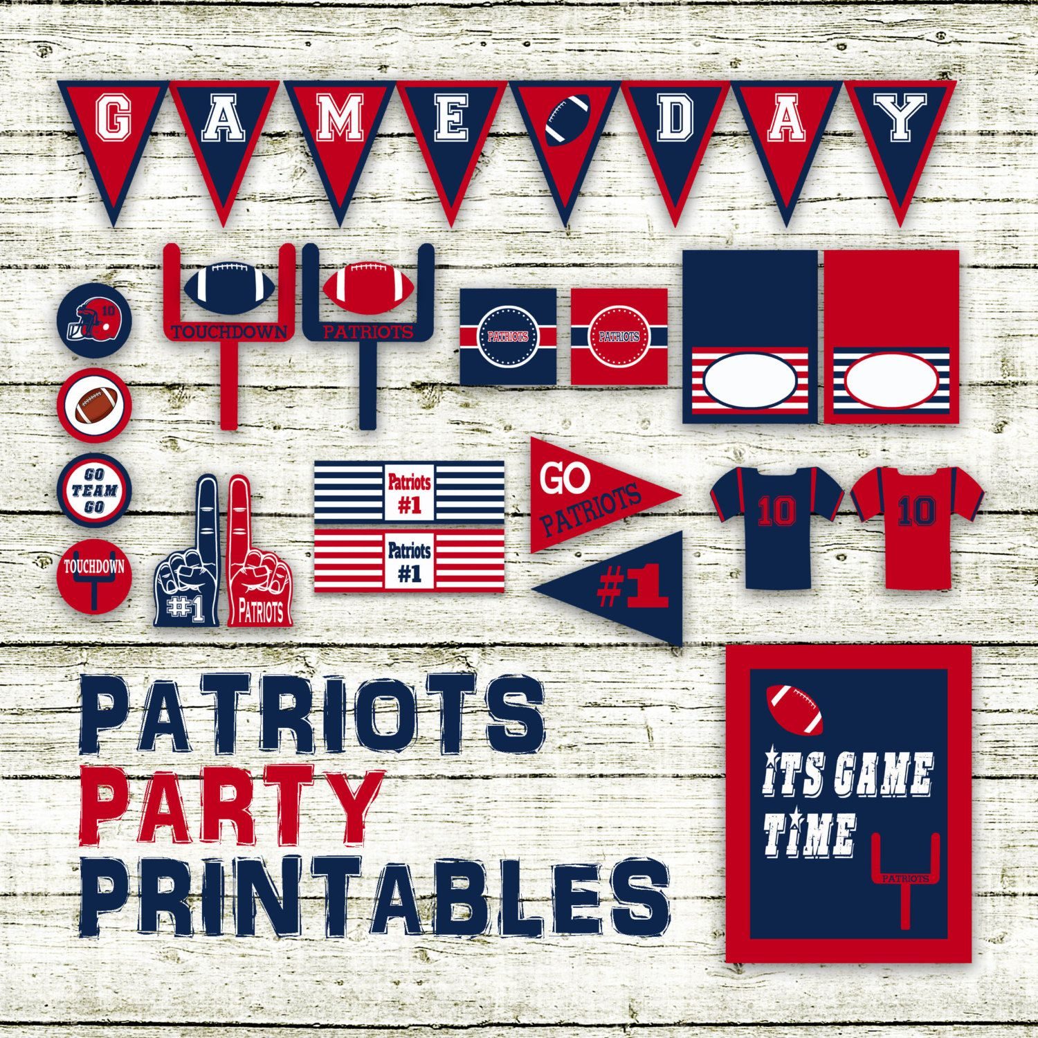 Patriots Football Party Printables And Decorations Printable Patriots Football Party Football Party Printables Football Party