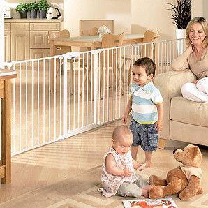 The Lindam playpen can be stretched out to use like a room divider