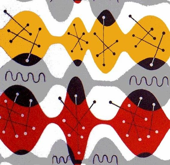 Hourglass textile designed by W Hertzberger around 1954 for British firm Turnbull and Stockdale