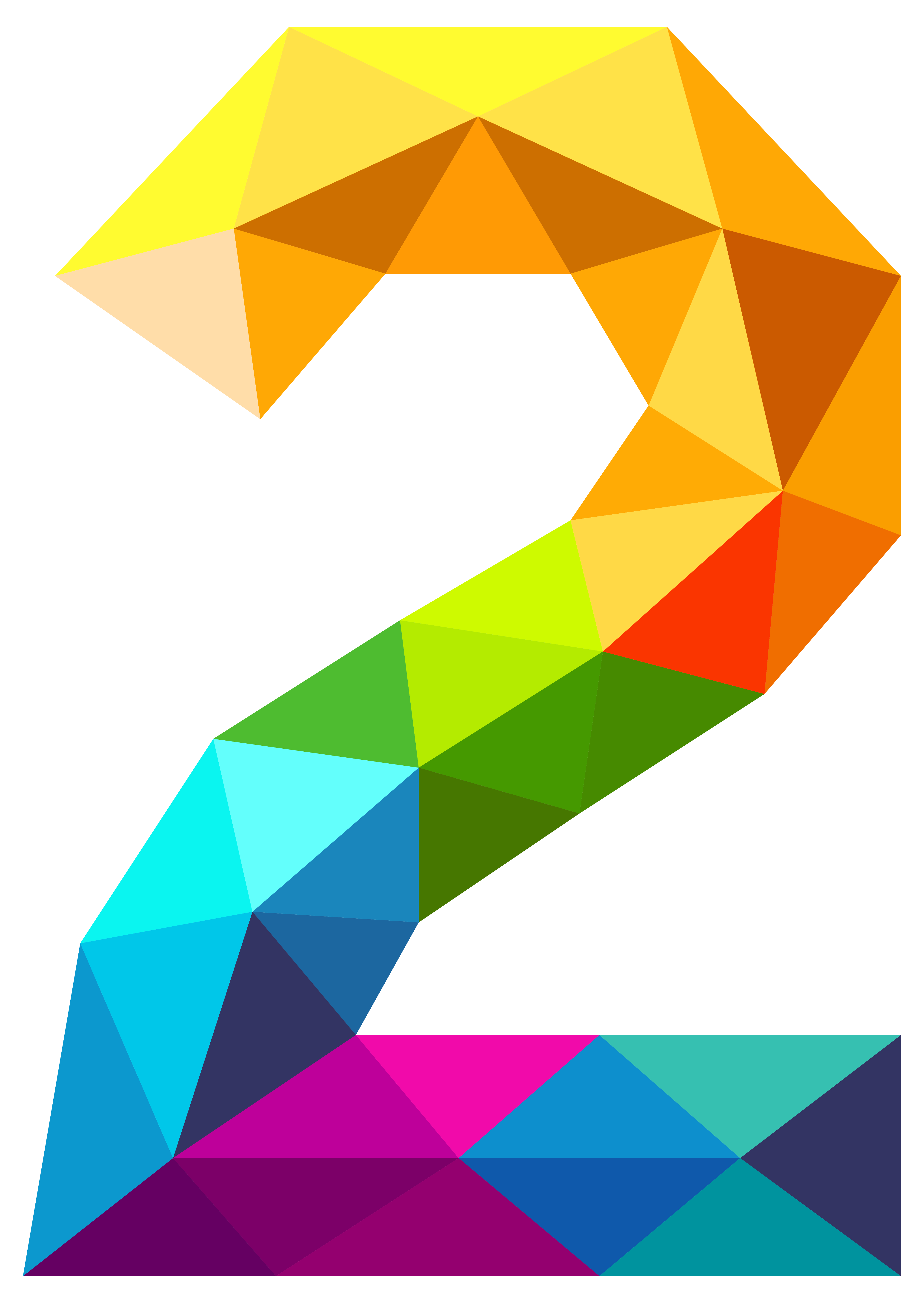 Colourful Triangles Number Two Clipart Image